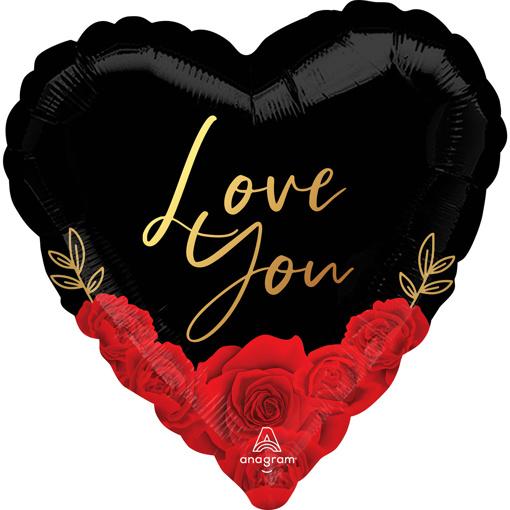 Obrázok z Fóliový balónik srdce - I love you - Romantic roses 43 cm