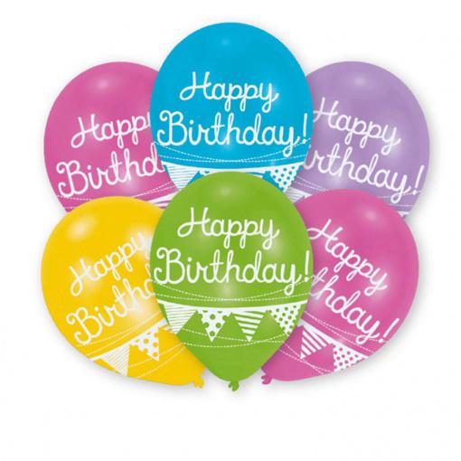 Obrázok z Latexové balóniky Happy Birthday - vlajočky 6 ks