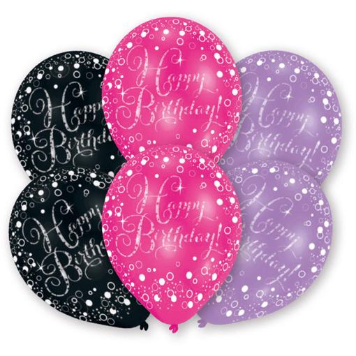 Obrázok z Latexové balóniky Happy Birthday - čierno-ružové 6 ks