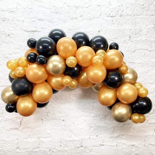 Obrázok z Sada na Balónovů girlandu Čierno-zlatá - 78 ks