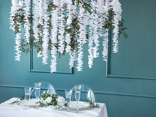 Obrázok z Závesná dekorácia biele kvety 180 cm