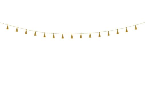 Obrázok z Závesná girlanda malé strapce - zlaté 190 cm