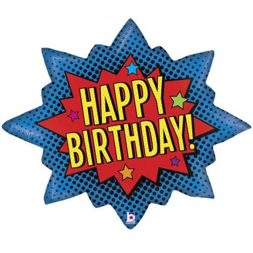 Obrázok z Fóliový balónik superhero Happy Birthday 81 cm