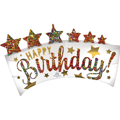 Obrázok z Fóliový balónik Glitter - Happy birthday 86 cm