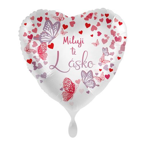 Obrázok z Foliový balonek Miluji tě lásko CZ Srdce motýli 43 cm