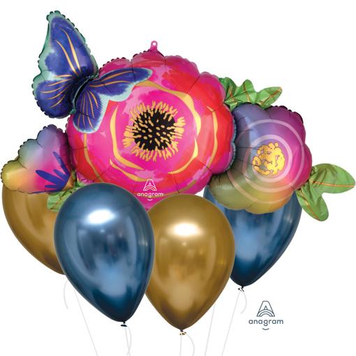 Obrázok z Sada balónikov Kvetina a motýľ - 5 ks