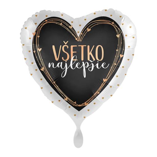 Obrázok z Fóliový balónik Všetko najlepšie SK - Srdce Lux rose gold 43cm