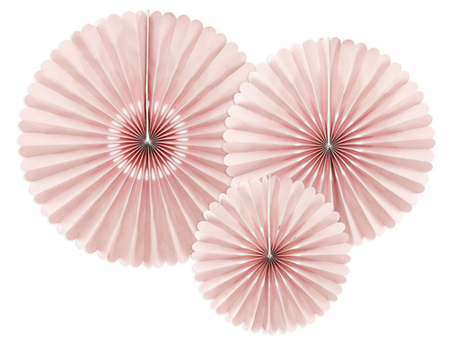 Obrázok z Dekoračné rozety Pudrovo růžové 26 až 43 cm - 3 ks
