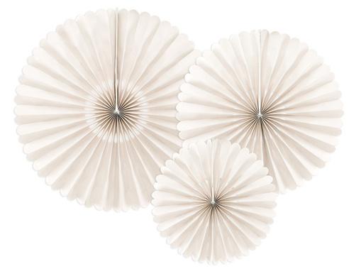 Obrázok z Dekoračné rozety krémové 26 až 43 cm - 3 ks