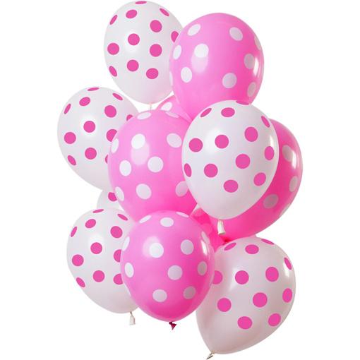Obrázok z Latexové balóniky Dots pink-white 30 cm - 12 ks