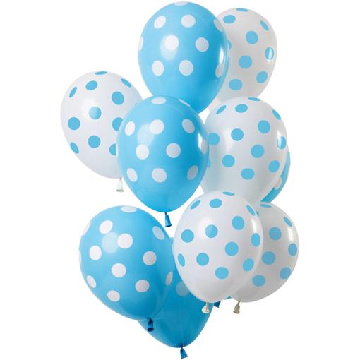 Obrázok z Latexové balonky Dots blue-white 30 cm - 12 ks