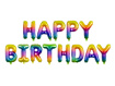 Obrázok z Fóliový nápis HAPPY BIRTHDAY dúhový 340 x 35 cm