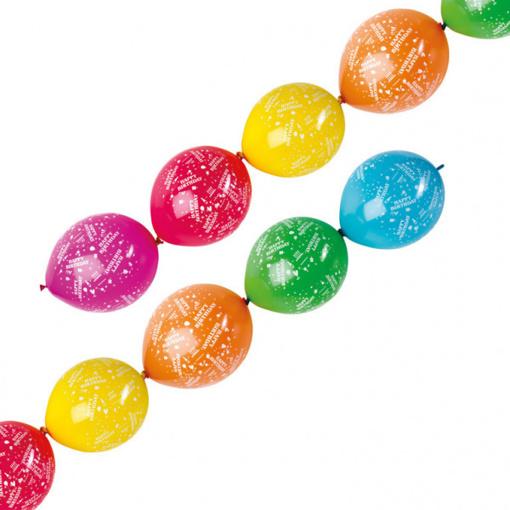 Obrázok z Spojovací balóniky Happy Birthday 28 cm - 6 ks