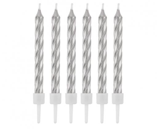 Obrázok z Tortové sviečky strieborné perleťové - 12 ks