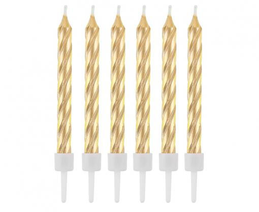 Obrázok z Tortové sviečky zlaté perleťové - 12 ks