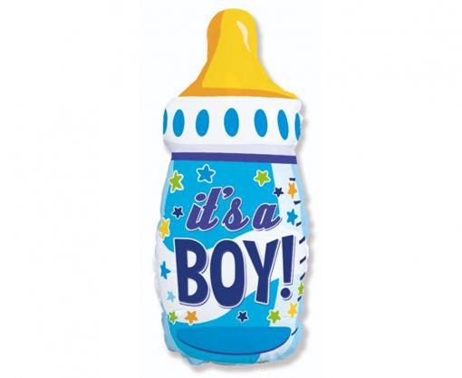 Obrázok z Fóliový balónik detská fľaša - modrá 69 cm