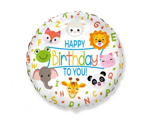 Obrázok z Fóliový balónik Happy Birthday Zvieratka 45 cm - Nebalený