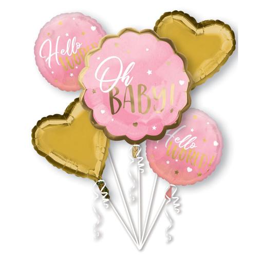 Obrázok z Sada fóliových balónikov Oh Baby - růžový - 5 ks
