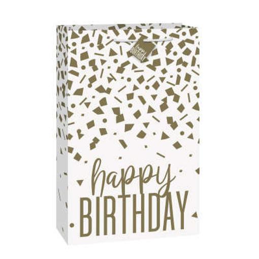 Obrázok z Dárková taška Gold konfety Happy Birthday - 35 x 55 cm