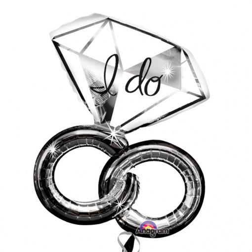 Obrázok z Fóliový balónik svadobné prstene diamond 69 x 76 cm