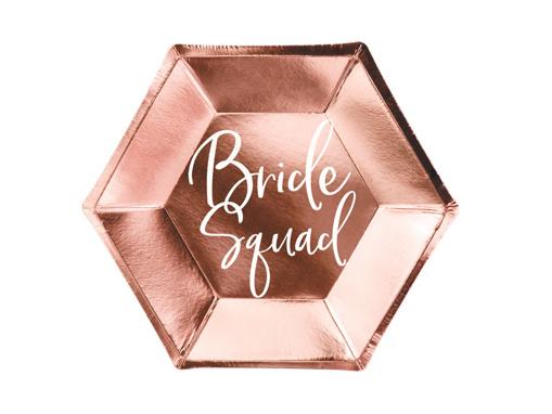 Obrázok z Papierové taniere metalické rose gold - Bride Squad 23 cm - 6 ks