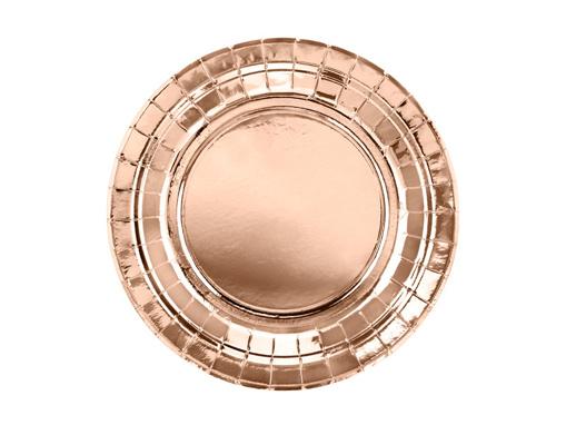 Obrázok z Papierové tanieriky metalické rose gold 18 cm - 6 ks