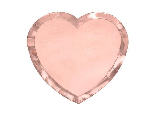 Obrázok z Papierové tanieriky v tvare srdca - metalické rose gold 21 cm