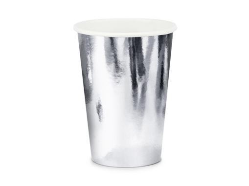 Obrázok z Papierové kelímky metalické strieborné 6 ks