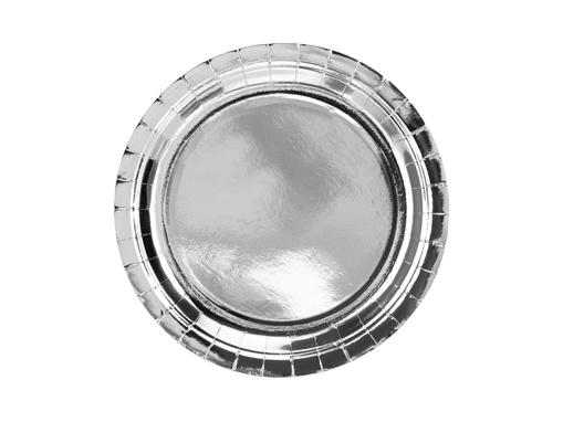Obrázok z Papierové taniere metalické strieborné 23 cm - 6 ks