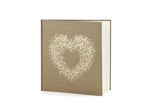 Obrázok z Svadobné kniha hostí hnedá so srdcom