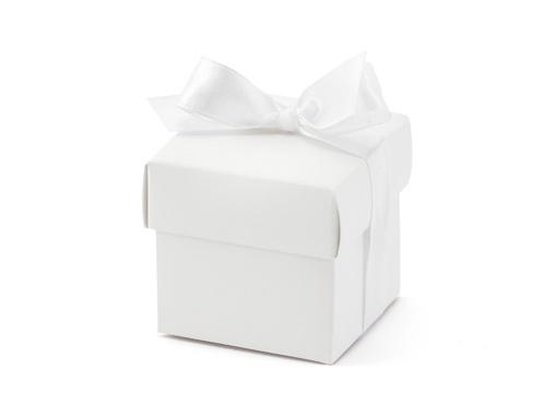 Obrázok z Darčekové svadobné krabičky biele s mašličkou - 10 ks