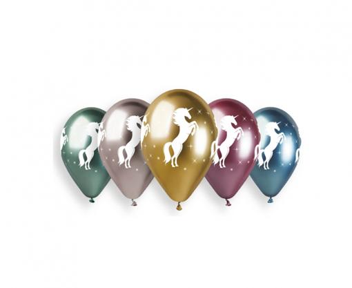 Obrázok z Latexové chromové balonky Jednorožec 33 cm - 5 ks