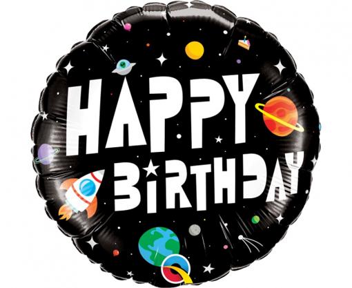 Obrázok z Fóliový balónik Vesmír čierny - Happy Birthday 45 cm
