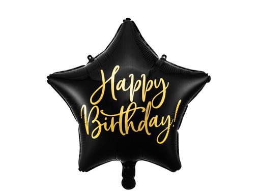 Obrázok z Fóliový balónik Happy Birthday - Čierna Hviezda 40 cm