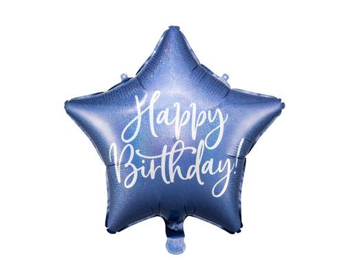 Obrázok z Fóliový balónik Happy Birthday - Modrá Hviezda 40 cm