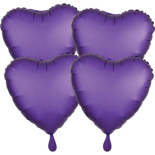 Obrázok z Fóliové balóniky srdce Satin Luxe Royal Fialová, 4 ks