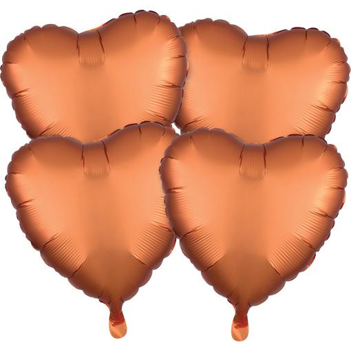 Obrázok z Foliové balonky srdce Satin Luxe Jantarové, 4 ks