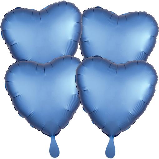 Obrázok z Fóliové balóniky srdce Satin Luxe Azúrové, 4 ks