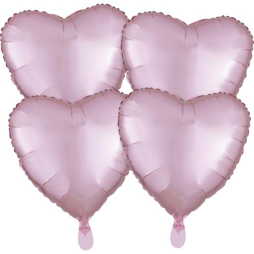 Obrázok z Fóliové balóniky srdce Satin Luxe Pastelové ružové, 4 ks