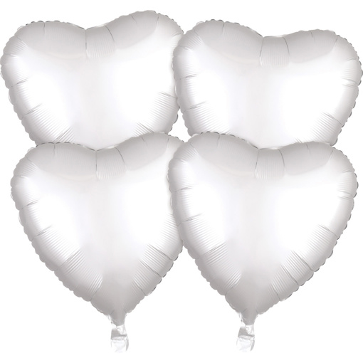 Obrázok z Fóliové balóniky srdce Satin Luxe Biele, 4 ks