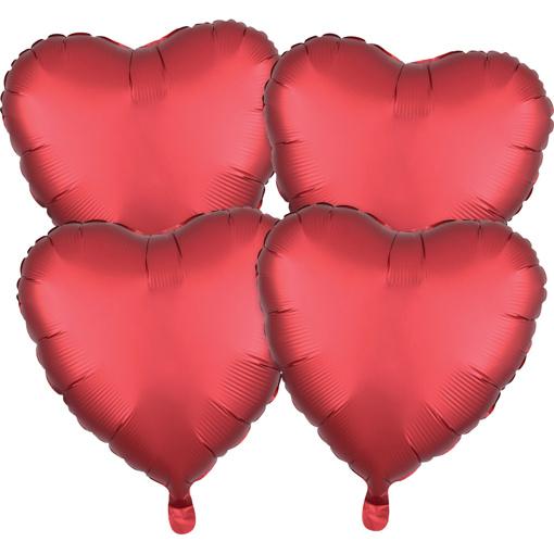 Obrázok z Fóliové balóniky srdce Satin Luxe Sangria, 4 ks