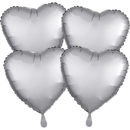 Obrázok z Foliové balonky srdce Satin Luxe Stříbrné, 4 ks