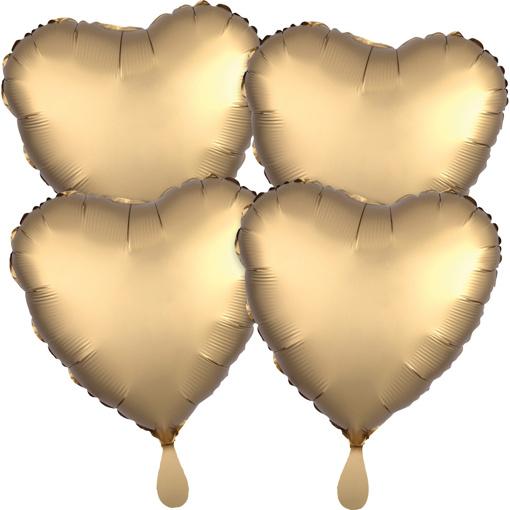 Obrázok z Fóliové balóniky srdce Satin Luxe Zlaté, 4 ks