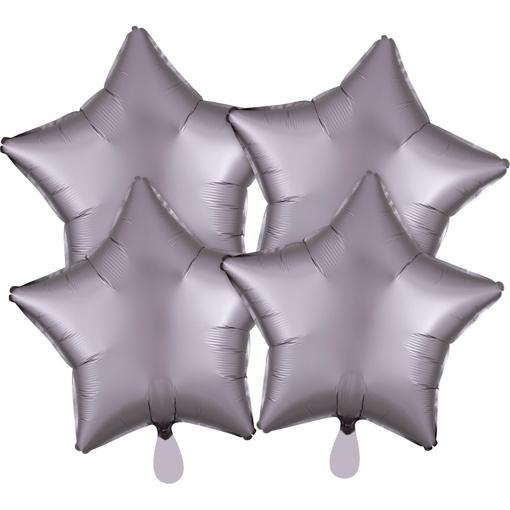 Obrázok z Fóliové balóniky hviezdy Satin Luxe Šedé, 4 ks