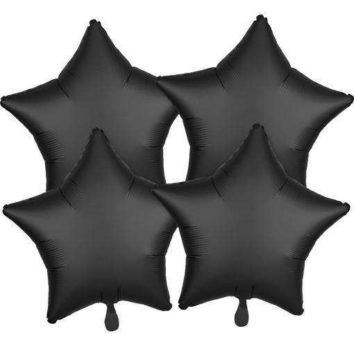 Obrázok z Fóliové balóniky hviezdy Satin Luxe Čierne, 4 ks