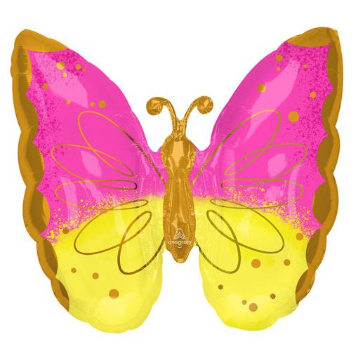 Obrázok z Foliový balonek motýl růžovo-žlutý 63 x 63 cm