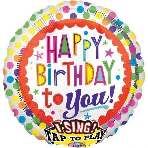 Obrázok z Foliový zpívající balonek Happy Birthday 71 cm