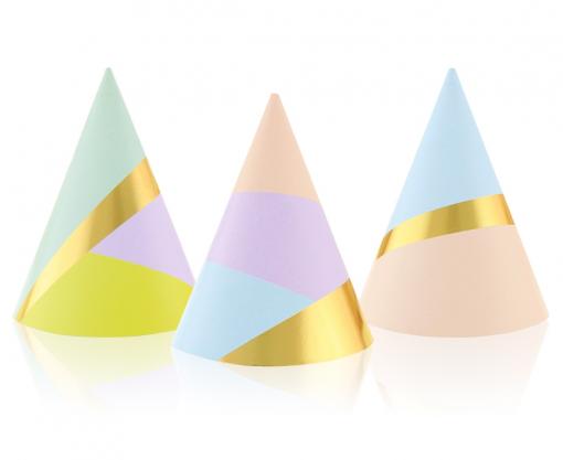 Obrázok z Papírové čepičky Pastel Gold 6 ks