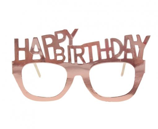 Obrázok z Papírové brýle rose gold Happy Birthday 4 ks