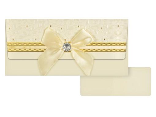 Obrázok z Obálka na peníze Svatební béžová s mašlí a korálkem